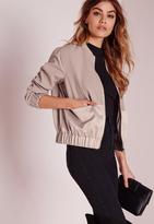 Missguided Petite Exclusive Satin Two Tone Bomber Jacket Mauve