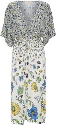 Tory Burch Satin Floral Midi Dress