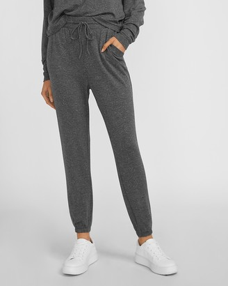 Express High Waisted Cozy Metallic Drawstring Jogger Pant