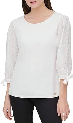 Calvin Klein Eyelet Sleeved Blouse (Soft White) Women's Clothing
