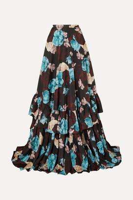 Erdem Darcie Tiered Floral-print Taffeta Maxi Skirt - Blue