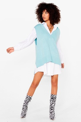 Nasty Gal Womens Knit's My Time to Shine Oversized vest Top - Blue - S