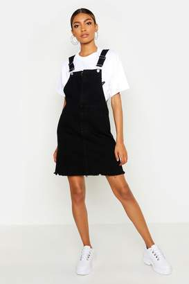 boohoo O Ring Zip Washed Black Denim Pinafore Dress