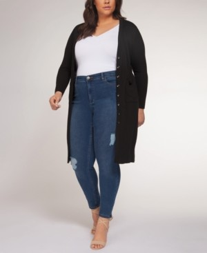 Black Tape Plus Size Long Cardigan