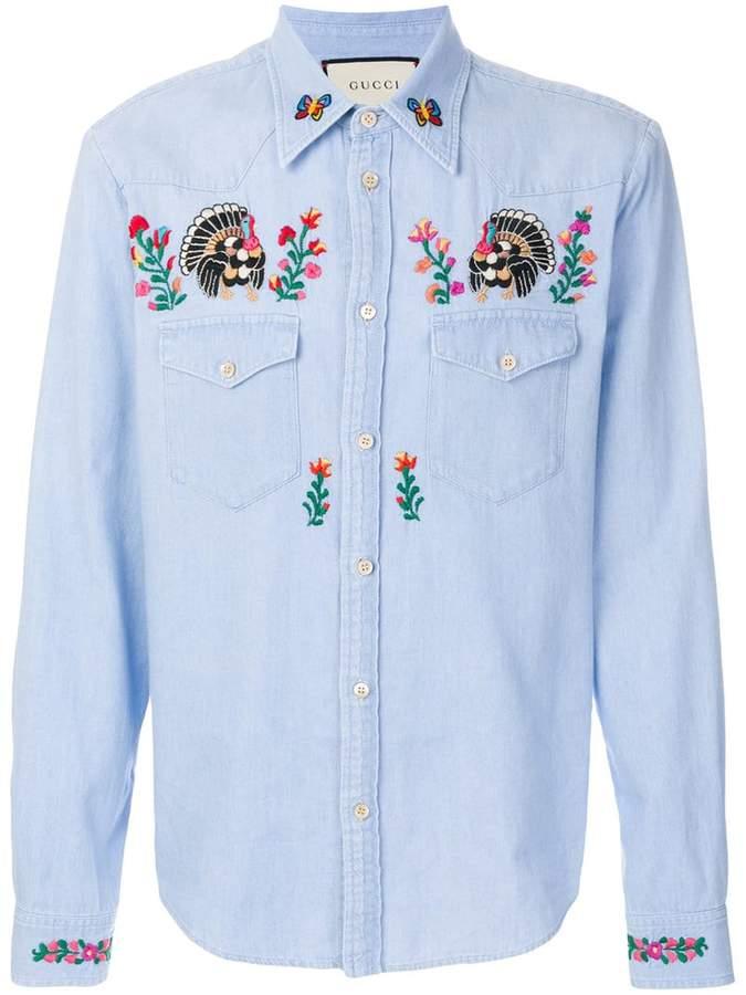 Gucci embroidered denim shirt