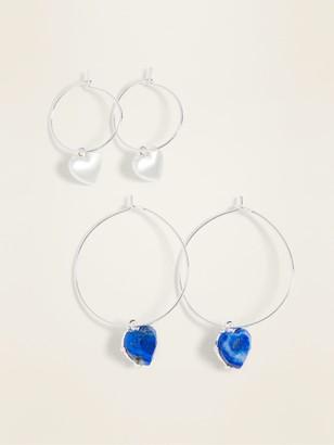 Old Navy Silver-Toned Hoop Earrings 2-Pack for Women