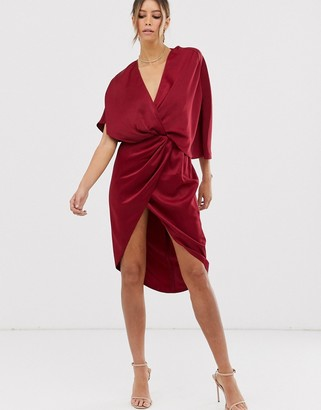 Asos Design DESIGN midi dress in satin with asymmetric kimono sleeve-Purple