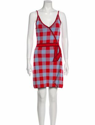 Adam Selman Plaid Print Mini Dress Red