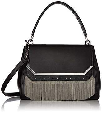 Calvin Klein Tessie Calf Split Leather Top Handle Cain Flap Over Satchel
