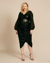 Dima Ayad Gathered Metallic Stretch Dress with Sheer Sleeves
