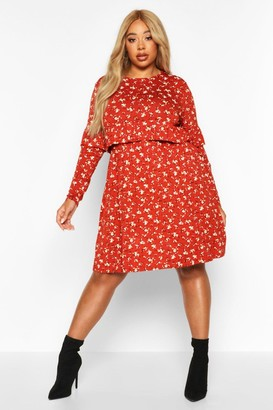 boohoo Plus Ditsy Floral Ruffle Smock Dress