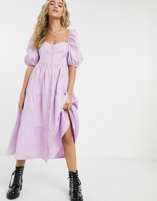 Bershka button down tiered poplin smock dress in lilac