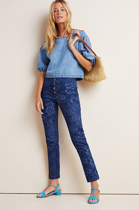 Pilcro And The Letterpress Pilcro Floral-Printed Slim Jeans By in Blue Size 25