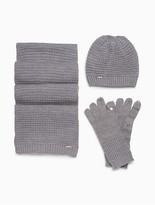 Calvin Klein 3-Piece Waffle Knit Hat, Scarf + Gloves Set