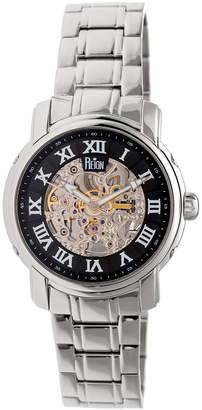 Reign Men's Watches Silver/Black - Stainless Steel & Black Kahn Skeleton Bracelet Watch