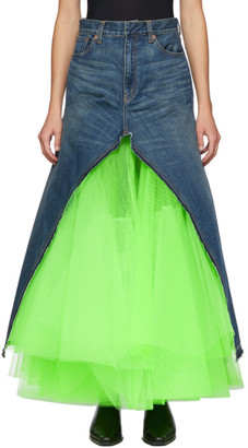 Junya Watanabe Blue and Green Denim Long Skirt