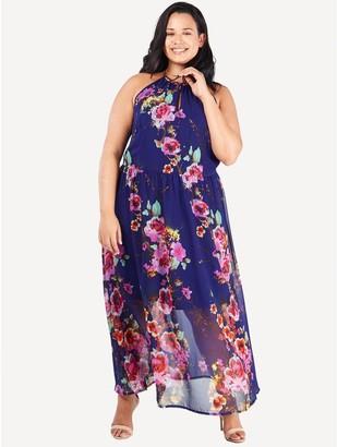 M&Co Blue Vanilla Curve halterneck floral maxi dress