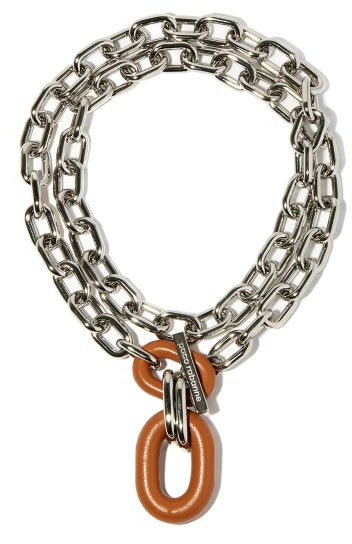 Paco Rabanne Xl Link Leather-pendant Necklace - Orange