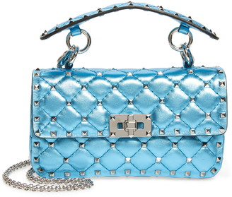 Valentino Small Rockstud Spike Metallic Leather Shoulder Bag