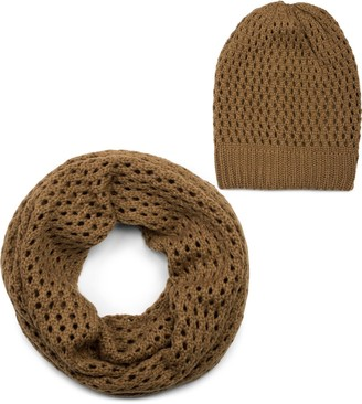 styleBREAKER knit loop scarf and hat set hole pattern knit scarf knitted beanie hat winter unisex 01018210