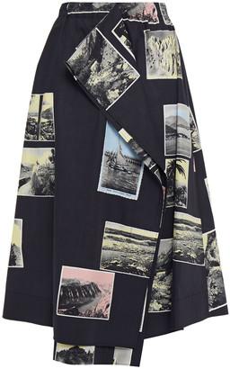Cédric Charlier Draped Printed Cotton-poplin Skirt