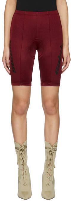 Yeezy Burgundy Seamed Biker Shorts