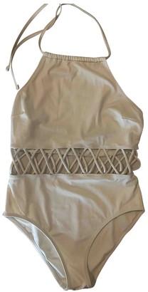 Solid & Striped White Cotton - elasthane Swimwear for Women