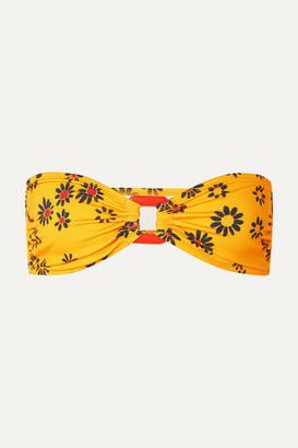 Solid & Striped The Tati Floral-print Bandeau Bikini Top - Yellow