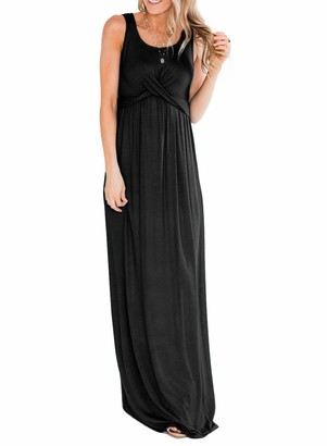 ROSKIKI Women's Cross Ruched Maxi Dress Solid Color Summer Sleeveless Casual Tunic Long Maxi Dress Black S