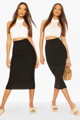 boohoo 2 Pack Basic Jersey Midaxi Skirt