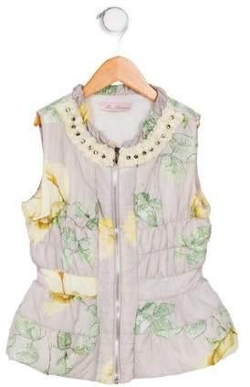 Miss Blumarine Girls' Printed Zip-Up Vest