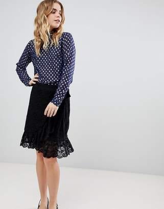 Ichi Lace Wrap Skirt-Black