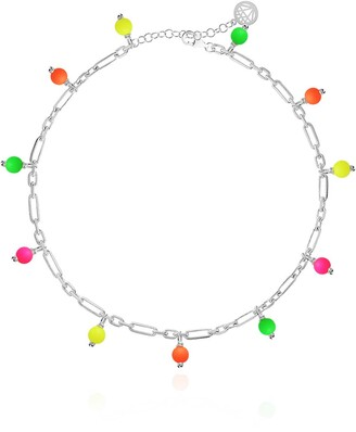 Gab+Cos Designs Candy Neon Sterling Silver Beaded Shaker Anklet