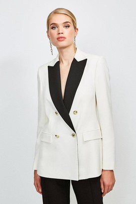 Karen Millen Clean Compact Contrast Lapel Double Breasted Jacket