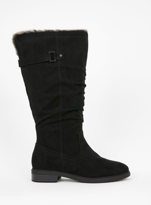 Evans WIDE FIT Black Faux Fur Lined Rider Boots
