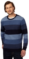 Maine New England Big And Tall Blue Striped Crew Neck Jumper