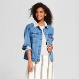 Who What Wear Women's Aviator Denim Jacket Medium Wash