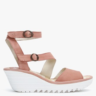Fly London Yisk Rose Leather Wedge Sandals