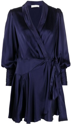 Zimmermann Silk-Wrap Mini Dress