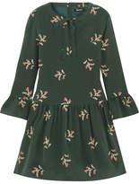 Madewell Pussy-bow Floral-print Silk Mini Dress - Dark green