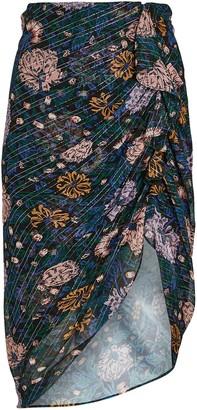 Veronica Beard Hazel Draped Floral Skirt
