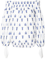 Caroline Constas printed off shoulder blouse