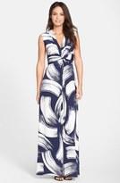 Eliza J Brush Print Jersey Maxi Dress