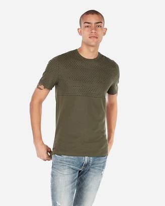 Express Camo Printed Color Block Crew Neck Jersey T-Shirt