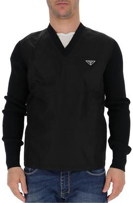 Prada Logo Plaque Panelled V-Neck Sweater