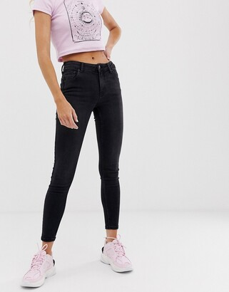 Bershka push up jean in black