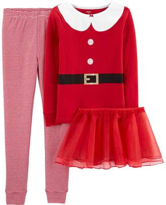 Carter's Girls 4-14 Christmas Santa Snug Fit Cotton Top & Bottoms Pajama Set
