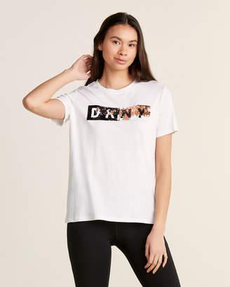 DKNY Short Sleeve Crew Neck Flip Sequin Logo Tee