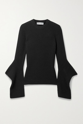 Michael Kors Collection Draped Ribbed Cashmere Sweater - Black
