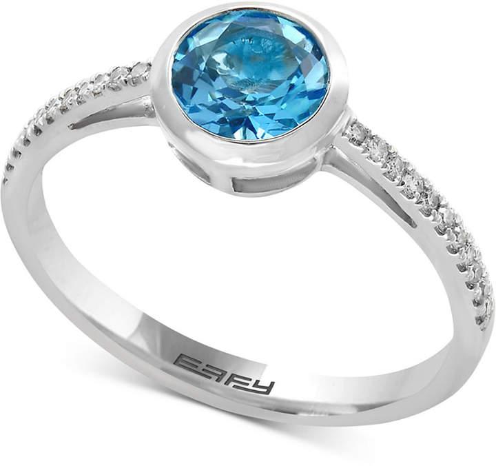 Effy Ocean Bleu Blue Topaz (9/10 ct. t.w.) and Diamond Accent Ring in 14k White Gold